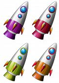 illustration of different color rockets