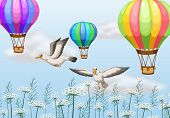 illustration of birds flying next to the balloons