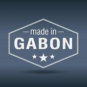 Made In Gabon Hexagonal White Vintage Label