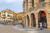 People In The Area Near Verona Arena In Preparation For The Annual Festival Of Opera. Verona, Italy