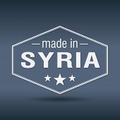 Made In Syria Hexagonal White Vintage Label