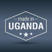 Made In Uganda Hexagonal White Vintage Label