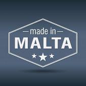 Made In Malta Hexagonal White Vintage Label