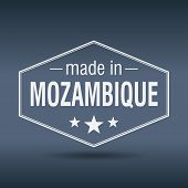 Made In Mozambique Hexagonal White Vintage Label