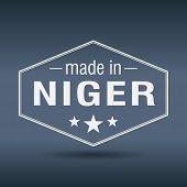 Made In Niger Hexagonal White Vintage Label