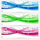 Modern Abstract Lines Business Colorful Cards Set