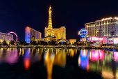 Las Vegas, NV - CIRCA JULY 2014 - Night illumination on Las Vegas Strip, Nevada, circa July 2014.