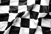 Checkered black and white flag closeup