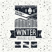 Snowboard Winter Mountains Emblem