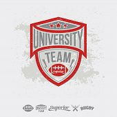 Rugby Emblem University Team And Design Elements