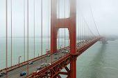 Fog on the Golden Gate Bridge.