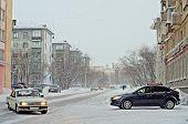 VORKUTA - JANUARY 21: Engels street on January 21, 2013 in Vorkuta