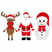 Christmas reindeer, snowman and Santa Claus