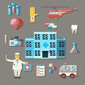 Medical Hospital Ambulance Healthcare Doctor Flat icons Set Vector Illustration