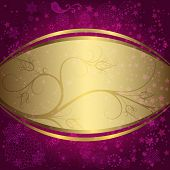 Christmas Purple And Golden Frame