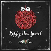 Holiday drawing on chalkboard ball and Happy New Year! Hand-drawn illustration in vintage style.