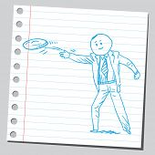 Businessman throwing  flying disc