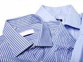 Blue shirt on white close up