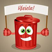 Funny Red Garbage Bin For Recycle