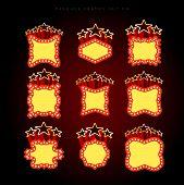 Retro illuminated movie marquee vector set