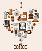 image of frappe  - Love coffee concept with grinder hot cup pack cream beans turk french press decorative icons vector illustration - JPG