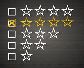 Five matted yellow web button stars ratings with reflection. Black background.