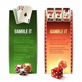 pic of dice  - Casino gamble it vertical banners set with cards chips slot machine dice isolated vector illustration - JPG