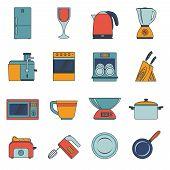 Kitchen appliances icons flat