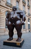 A Mongolian Statue In Standing Position By Shen Hong Biao In Paris City