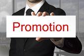 Businessman Holding Sign Promotion