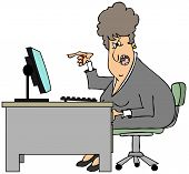 Irate woman sitting at a desk