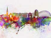 Leicester Skyline In Watercolor Background