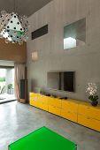 Modern living room, interior house, veranda view
