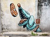 Street Art Painting In Georgetown, Penang, Malaysia