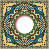 floral round pattern in ukrainian oriental ethnic style for your