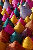 image of conic  - the composition of colorful conical woven bamboo - JPG