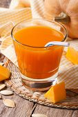Delicious Pumpkin Juice With Pulp In A Glass