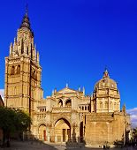view of the main facade of the Cathedral of Saint Mary of Toledo, Spain