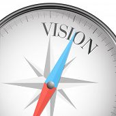 detailed illustration of a compass with Vision text, eps10 vector