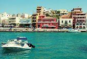 Harbor Of Agios Nikolaos, Crete, Greece.