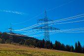 High-voltage Power Line On The Hillside