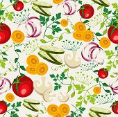 pic of gourmet food  - Colorful healthy food seamless pattern background for organic vegetables menu or salad bar vector file - JPG