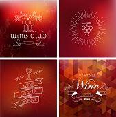 Wine Bar Vintage Label Background Set