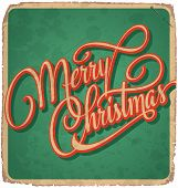 MERRY CHRISTMAS hand lettering vintage card (vector)