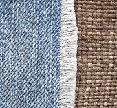 denim jeans border vintage burlap