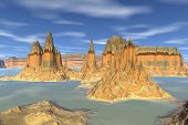 3D Rendered Fantasy Alien Planet. Rock