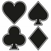 Set of playing card four symbols on white background