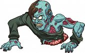 Zombie with no legs crawling. Vector clip art illustration with simple gradients. All in a single layer.