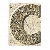Letter C Carved In A Concrete Block  - A Concrete Block With The Letter