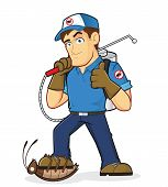 stock photo of cartoon character  - Clipart picture of an exterminator or pest control cartoon character - JPG